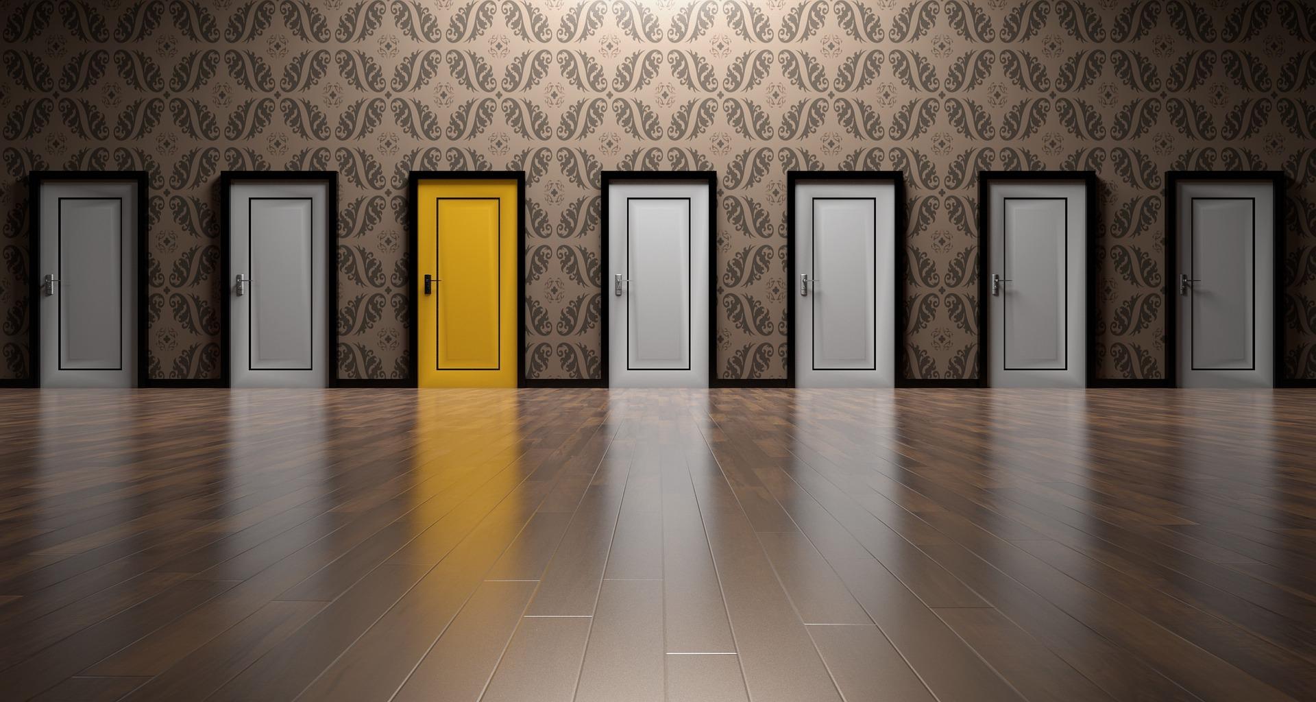corridor of rooms yellow door health messages are confusing