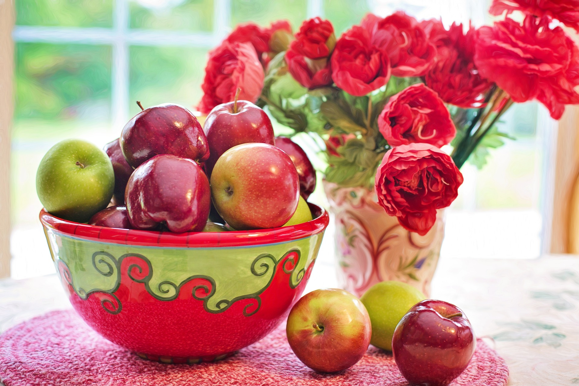 red flowers bunch of apples wonder fruit of the world why should you eat more apples