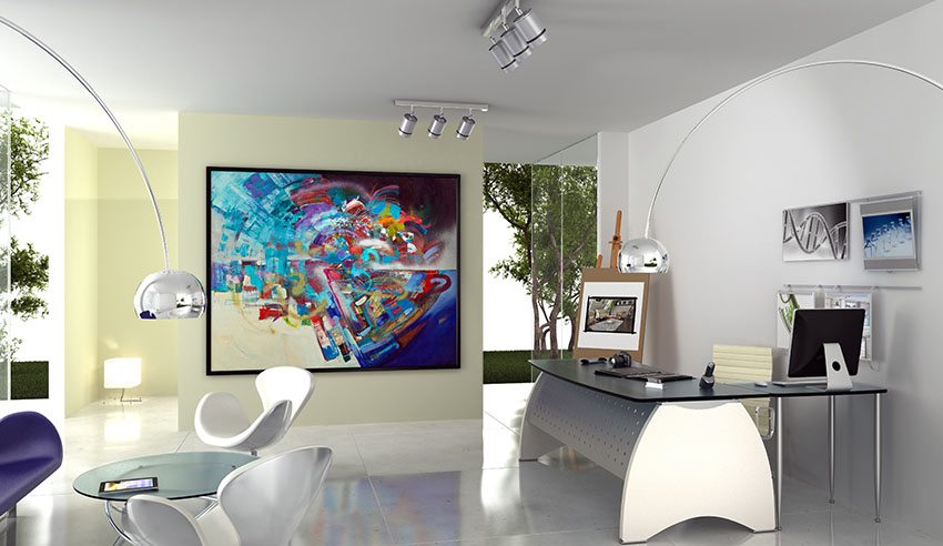 Office with painting