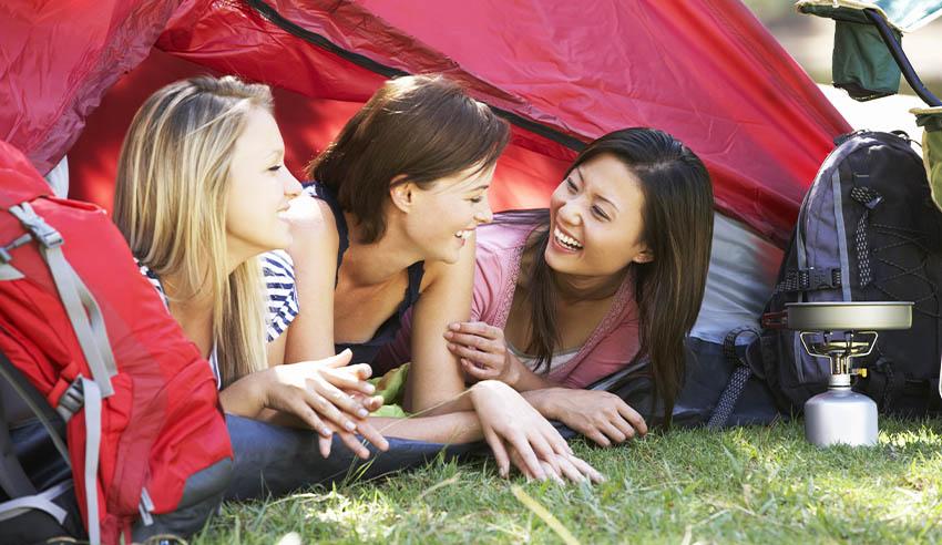 Women camping